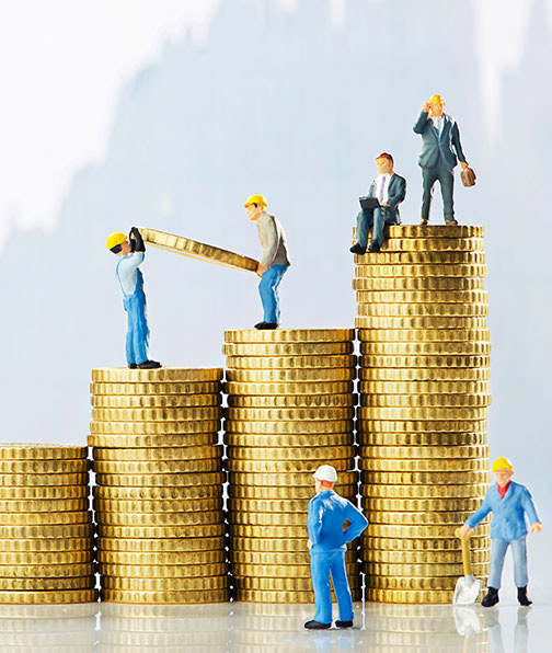 Illustration of people on stacks of coins working their way up