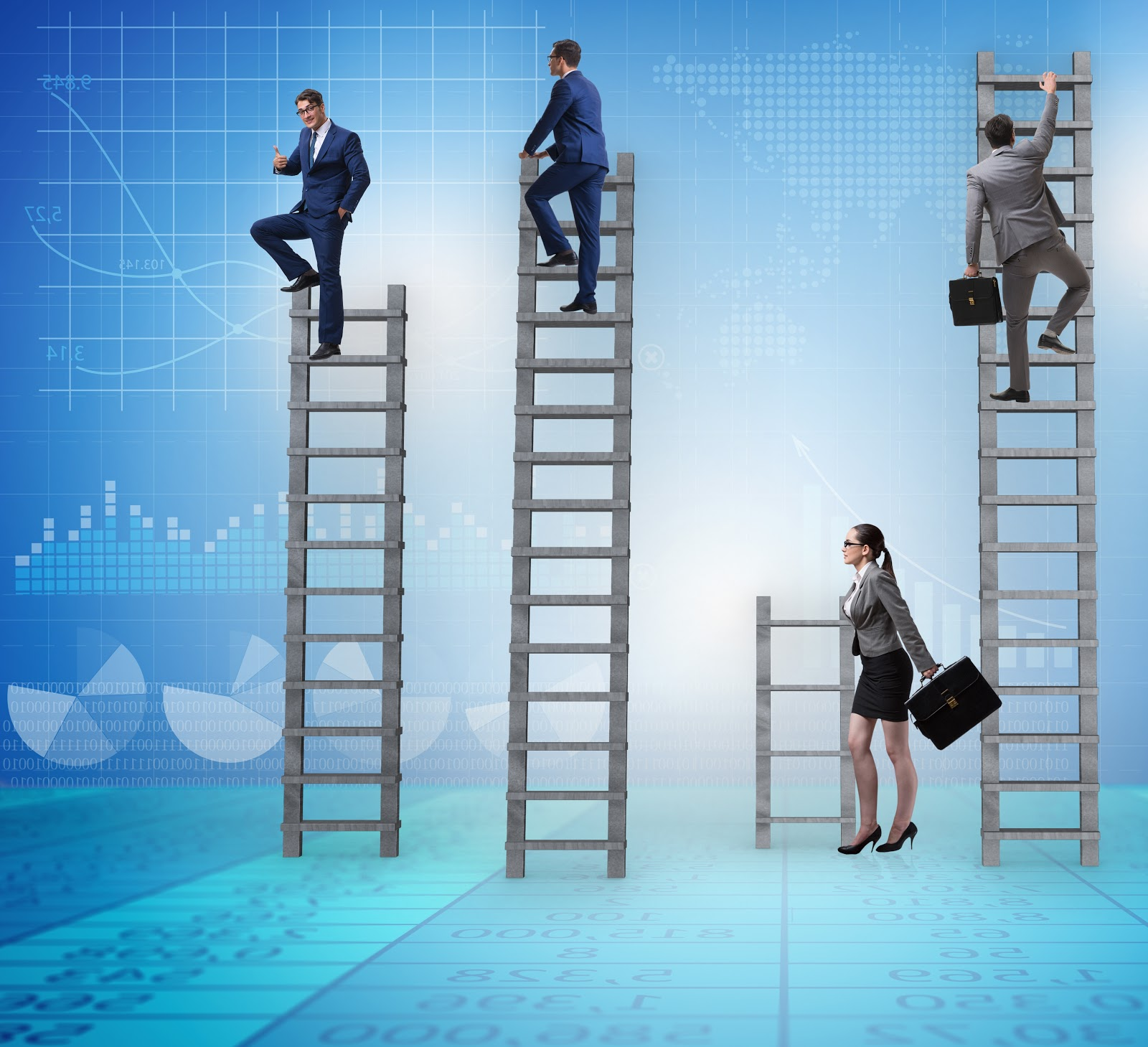 female professional has a shorter ladder than the males